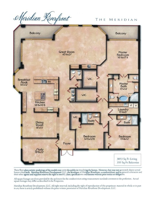 Penthouse Floor Plan - The Meridian 3853sf with 357sf Balcony